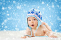 Eight Month Old Baby Lying On Soft Blanket Royalty Free Stock Photos - 73023358
