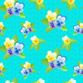 Pansies On A Blue Background With Dots Stock Photos - 73035803