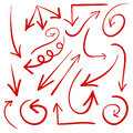Set Of Hand Drawn Arrows. VECTOR. Red Arrows Stock Photo - 73053130