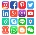 Collection Of Popular Social Media Icons Stock Image - 73056171