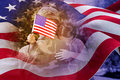 Composite Image Of Army Man Hugging Daughter With American Flag Royalty Free Stock Photo - 73063725