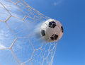 Soccer Ball In Goal Royalty Free Stock Images - 73076059
