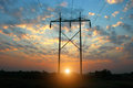 Transmission Power Line On Sunset Stock Photo - 73087120