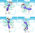 Four Scenes Of Dragonfly Flying In Sky Stock Image - 73094061