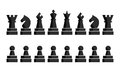 Black Chess Icons Set. Chess Board Figures. Vector Illustration Chess Pieces. Nine Different Objects Including King Royalty Free Stock Images - 73135029
