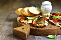 Pizza On A Eggplant Slices. Stock Photography - 73137792