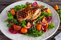 Grilled Chicken Breast Fillet With Fresh Tomatoes Vegetables Salad. Concept Healthy Food. Stock Images - 73144524