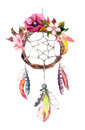 Dream Catcher - Feathers, Leaves, Flowers. Autumn Watercolor, Boho Style Stock Photo - 73144870