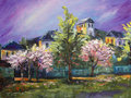 Art Oil-Painting Picture Blooming Trees In The Village With Purple Sky Royalty Free Stock Photos - 73146408