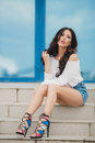 Beautiful Smiling Young Woman Portrait Royalty Free Stock Images - 73164209