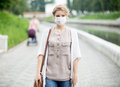 Portrait Of Sick Woman Wearing Protective Mask Against Infective Royalty Free Stock Images - 73177539