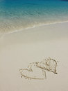 Heart Shapes On White Sand Beach Royalty Free Stock Image - 73183186