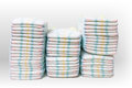 A Lot Of Stacked Diapers  On White Background Royalty Free Stock Photo - 73184895