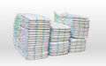 A Lot Of Stacked Diapers  On White Background Royalty Free Stock Photo - 73184965