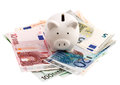 Piggy Bank And Euro Banknotes Isolated On White Stock Image - 73192111