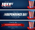 Happy Independence Day Banners With Hats Stock Images - 73205054