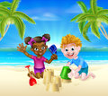 Cartoon Kids On The Beach Royalty Free Stock Images - 73210479