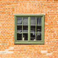 Old Wooden Green Window In A Brick Wall Royalty Free Stock Photography - 73214687