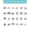 Diagram And Graphs Color Line Vector Icons Stock Images - 73219234