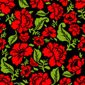 Red Rose Seamless Pattern. Floral Texture. Russian Folk Ornament Royalty Free Stock Photo - 73221015
