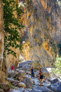 Tourists Hike In Samaria Gorge In Central Crete, Greece Royalty Free Stock Images - 73228759