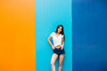 Girl With Nice Body Against Color Wall Background Royalty Free Stock Photography - 73230857