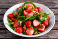 Summer Fruit Vegan Spinach Strawberry Nuts Salad. Concepts Health Food Stock Photography - 73233272