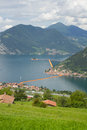 View Of The Floating Piers, Christo, Iseo Lake Royalty Free Stock Photography - 73254457