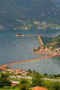 View Of The Floating Piers, Christo, Iseo Lake Stock Photography - 73254832