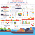 Maritime Or Nautical Transportation Infographic Royalty Free Stock Images - 73276059