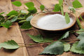 Xylit (birch Sugar) On A Wooden Spoon Royalty Free Stock Image - 73293516