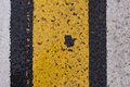 Asphalt Highway Texture With Cracked White And Yellow Stripe Stock Photos - 73299663