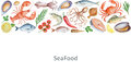 Watercolor Set Of Seafood, Vegetables And Spices. Royalty Free Stock Photography - 73311917