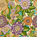 Colored Seamless Hand Drawn Patterns With Abstract Flowers And Leaves. Doodle Floral Backgrounds. Royalty Free Stock Image - 73313246