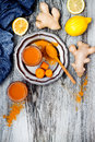 Carrot Ginger Immune Boosting, Anti Inflammatory Smoothie With Turmeric And Honey. Detox Drink Royalty Free Stock Photo - 73315365