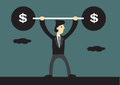 Cartoon Business Lifts Barbell With Dollar Sign Stock Photography - 73315372