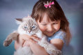 Girl With Cat Royalty Free Stock Photo - 73317095