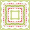 Five Frames For Christmas Cross-stitch Embroidery Stock Photos - 73331993