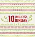 Ten Seamless Borders For Cross-stitch Embroidery Royalty Free Stock Photo - 73332745
