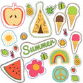Happy Embroidery Colorful Summer Patches Collection. Royalty Free Stock Photo - 73350055