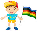 Little Boy Holding Colorful Flag Royalty Free Stock Images - 73357379
