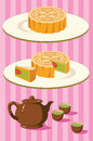 Chinese Moon Cake And Tea For Mid Autumn Festival Stock Images - 73358174