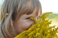 A Little Girl Holding A Bouquet Of Field Summer Flowers And Smelling It With Her Eyes Closed Stock Photo - 73360630