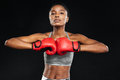 Fitness Woman Posing With Boxing Gloves On Black Background Stock Photography - 73361512