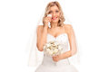 Young Blond Bride Crying Out Of Joy Royalty Free Stock Image - 73365656