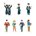 Student Vector Icon Set. Graduate Students Mantle Royalty Free Stock Image - 73369846