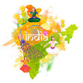 Republic Of India Map For Independence Day. Stock Image - 73381731