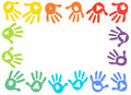 Colorful Kids Handprint Frame Vector Background Royalty Free Stock Photos - 73381938