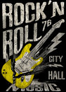 Rock N Roll Poster Guitar Graphic Design Tee Vector Art Royalty Free Stock Photo - 73382105