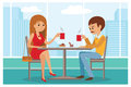 Couple In Cafe - Vector Illustration With City Landscape On Window. Stock Image - 73390061